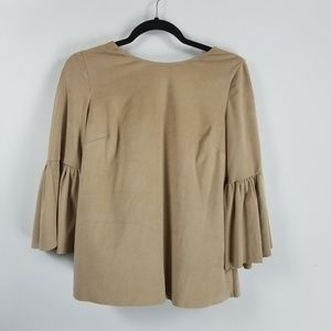 Crown & ivy bell sleeve blouse size small tan